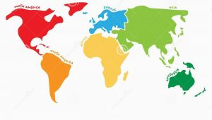 Map Of north America and Europe together Multicolored World Map Divided to Six Continents In