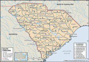 Map Of north Carolina Regions State and County Maps Of south Carolina