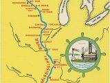Map Of Ohio River and Mississippi River Mississippi River From Bemidji to New orleans State Map Vintage