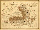 Map Of Romania In Europe Old Map Of Romania Harta Veche Romania Fine Print