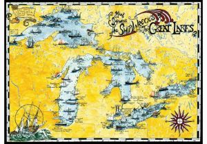 Map Of Silver Lake Michigan Great Lakes Shipwreck Map by Avery Color Studios Great Lakes