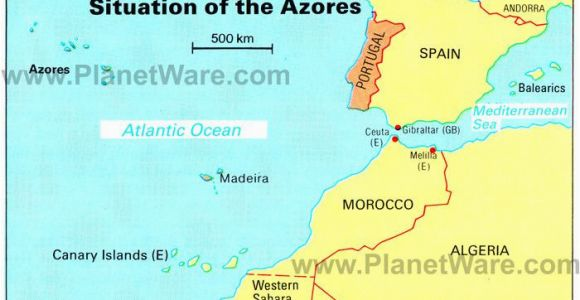 Map Of south West Spain Azores islands Map Portugal Spain Morocco Western Sahara