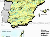 Map Of Spain and Balearics Rivers Lakes and Resevoirs In Spain Map 2013 General Reference