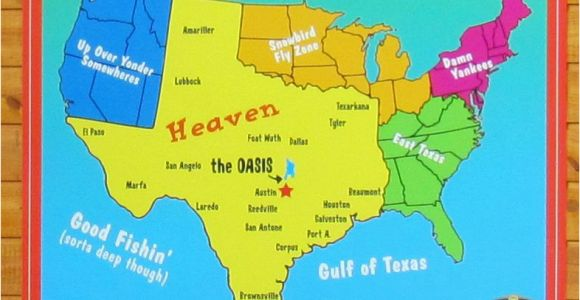 Map Of Texas Colleges A Texan S Map Of the United States Featuring the Oasis Restaurant