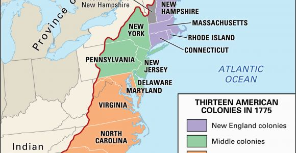 Map Of the New England Middle and southern Colonies Proclamation Of 1763 History Map Significance Facts