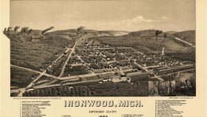 Map Of Troy Michigan Historic Map Of Ironwood Michigan 1886 Ontonagon County Kjaposters