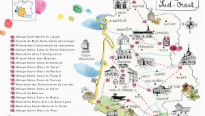 Map Sw France Caroline Donadieu Guide Des Abbayes south West France Map Map