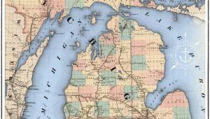 Michigan Railroads Map Michigan Railroad Map Art Print I Like Maps Pinterest