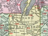 Michigan Rivers Map Grand Traverse County Michigan 1911 Map Rand Mcnally Traverse