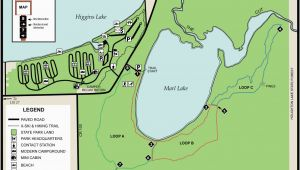 Michigan State Campgrounds Map south Higgins State Parkmaps area Guide Shoreline Visitors Guide