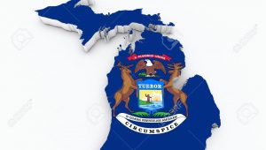 Michigan State Interactive Map Michigan State Flag Od 3d Map Stock Photo Picture and Royalty Free