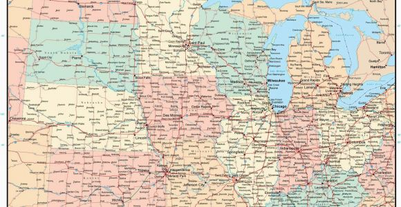 Minnesota Wisconsin Michigan Map Usa Midwest Region Map with States Highways and Cities Map Resources
