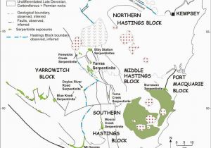 New England Australia Map Simplified Map Of the Serpentinite Outcrops In the Hastings