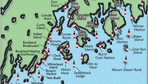 New England Lighthouses Map Acadia and Penobscot Bay Maine Lighthouse Map the