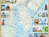 New England Lighthouses Map Mid atlantic Lighthouses Illustrated Map Guide Laminated