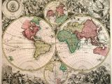 New England Wall Map Extremely Rare Double Hemisphere World Map with Smaller