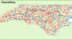 North Carolina Map with Cities and towns Road Map Of north Carolina with Cities