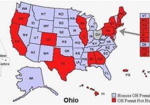 Ohio Reciprocity Map Great Ohio Ccw Reciprocity Map Usa Worldmaps