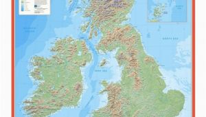 Physical Map Of Ireland Mountains ordnance Survey British isles Physical Features Wall Map
