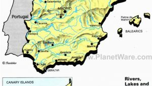 Physical Map Of Spain Rivers Lakes and Resevoirs In Spain Map 2013 General
