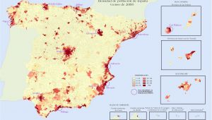 Population Map Of Spain Quantitative Population Density Map Of Spain Lighter Colors