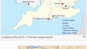 Premier League Map Of England Mapping Out All 20 Premier League Teams Prosoccertalk