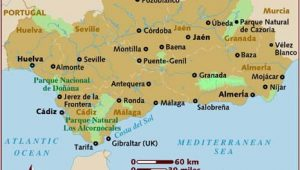 Road Map Of southern Spain Map Of andalucia