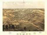 Romeo Michigan Map 8 X 12 Reproduced Photo Of Vintage Old Perspective Birds Eye View