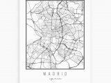 Roses Spain Map Madrid Spain Street Map Art Print