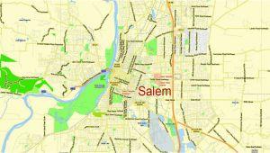 Salem oregon Street Map Portland Vancouver oregon City Salem Large area Printable Map