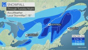 Snow Map Michigan nor Easter to Lash northern New England with Coastal Rain and Heavy