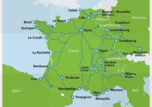 South Of France Airports Map Map Of Tgv Train Routes and Destinations In France