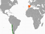 Spain On A Map Of the World Chile Spain Relations Wikipedia