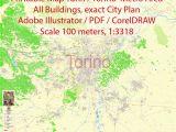 Street Map Of Rome Italy Printable Printable Vector Map Turin torino Metro area City Plan All Buildings