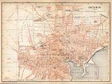 Syracuse Italy Map 1908 Catania Sicily City Map Italy Antique Map Sicilia