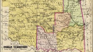 Texas Indians Map Map Of Indian Territory original Colored Antique Map Engraving