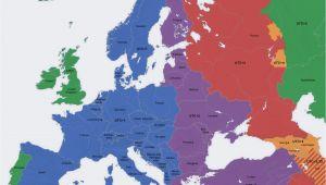 Time Zones In Europe Map Europe Map Time Zones Utc Utc Wet Western European Time