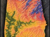 Topographic Map Of Alabama Colorful Alabama Wall Map topographical Physical Features
