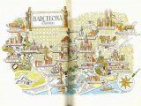 Tourist Map Of Barcelona Spain Barcelona Map Print Vintage City Of Barcelona Spain Map World
