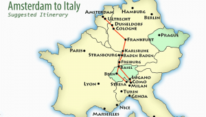 Train Map northern Italy Amsterdam to northern Italy Suggested Itinerary