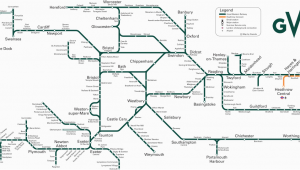 Train Map south England Great Western Train Rail Maps
