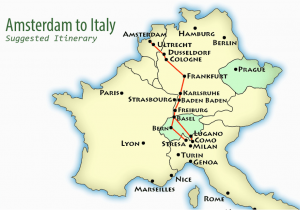 Train Routes Italy Map Amsterdam to northern Italy Suggested Itinerary