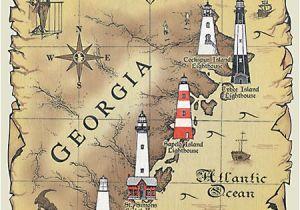 Tybee island Georgia Map Lighthouses Of Georgia Map T Shirt Charleston Savannah