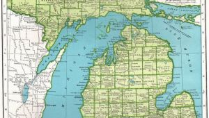 Washington Michigan Map 1945 Antique Michigan Map Gallery Wall Art Vintage Map Of Michigan