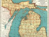 Where is Alpena Michigan On Map 1921 Vintage Michigan State Map Antique Map Of Michigan Gallery Wall