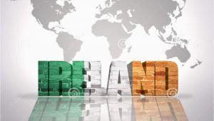World Map Showing Ireland Word Ireland On A World Map Background Stock Illustration