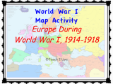 World War One Map Of Europe Ww1 Map Activity Europe During the War 1914 1918 social